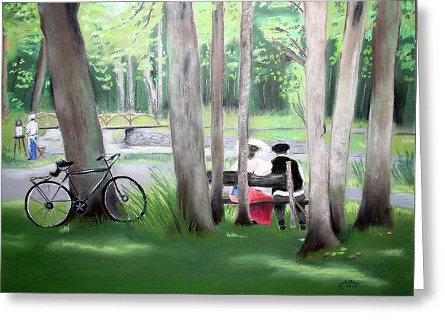 Roxbury Greeting Cards - Solace In The Park Greeting Card by Barbara Gulotta