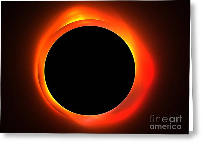 Fractal Eclipse Greeting Cards - Solar Eclipse Greeting Card by Kim Sy Ok