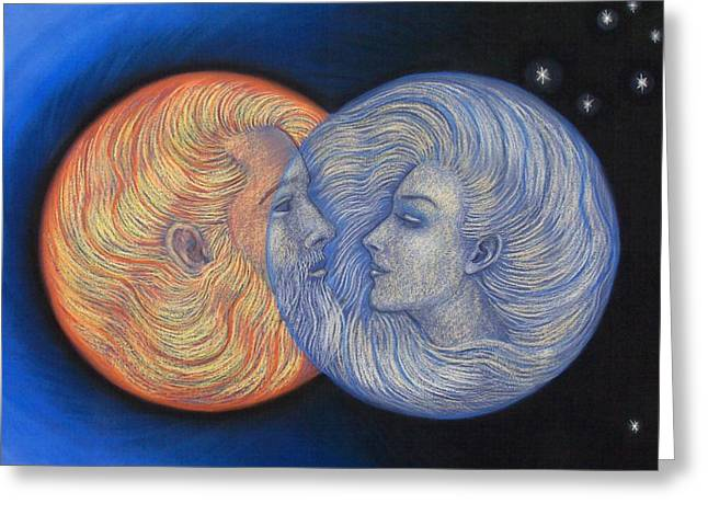 Goddess Pastels Greeting Cards - Solar Eclipse Greeting Card by Sue Halstenberg