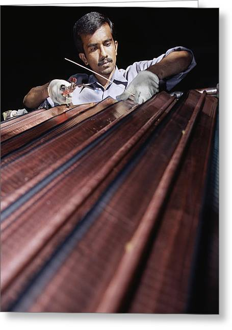 Solar Power Greeting Cards - Solar Heater Manufacture Greeting Card by Volker Steger