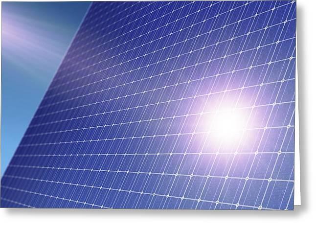 Solar Power Greeting Cards - Solar Panel Greeting Card by Detlev Van Ravenswaay