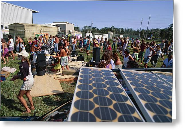 Solar Power Greeting Cards - Solar Panel Use Greeting Card by G. Brad Lewis