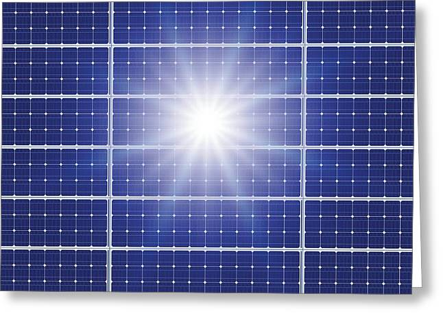 Ecofriendly Greeting Cards - Solar Panels In The Sun Greeting Card by Detlev Van Ravenswaay