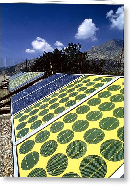 Energy Efficiency Greeting Cards - Solar Panels Used To Charge Railway Batteries Greeting Card by Chris Knapton