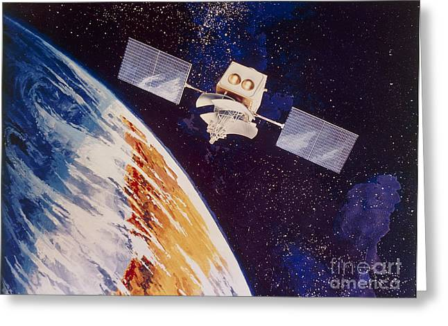 Global Communications Greeting Cards - Solar-powered Communications Satellite Greeting Card by NASA / Science Source