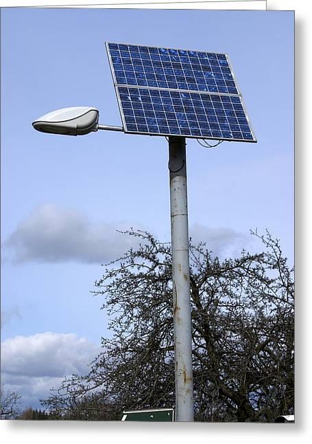 Streetlight Greeting Cards - Solar Powered Street Light, Uk Greeting Card by Mark Williamson