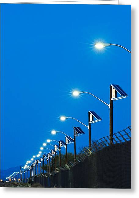 Eco-village Greeting Cards - Solar Powered Street Lights Greeting Card by David Nunuk