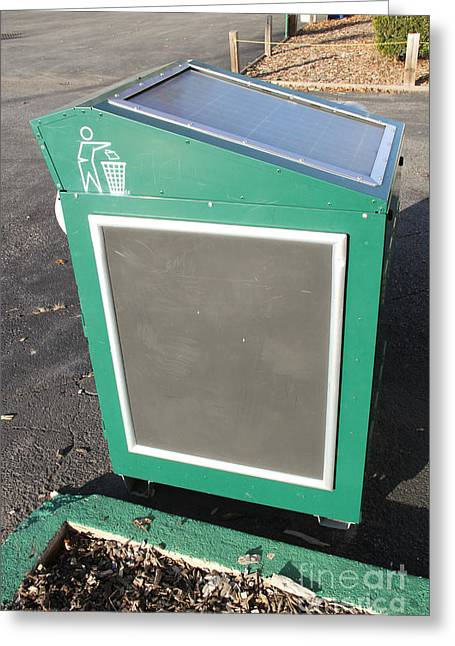 Solar Power Greeting Cards - Solar Powered Trash Compactor Greeting Card by Photo Researchers, Inc.
