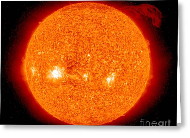 Observer Greeting Cards - Solar Prominence Greeting Card by Nasa