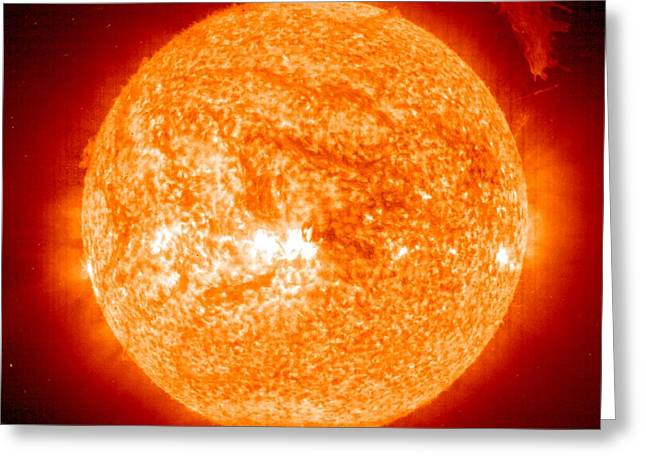 Ejected Greeting Cards - Solar Prominence, Soho Image Greeting Card by Nasa