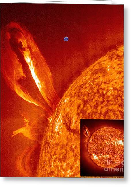 Helium Greeting Cards - Solar Prominence With Earth For Scale Greeting Card by Solar & Heliospheric Observatory consortium (ESA & NASA)