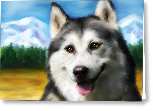 Smiling Siberian Husky  Painting Greeting Card by Michelle Wrighton