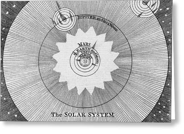 1700s Greeting Cards - Solar System, 18th Century Engraving Greeting Card by Middle Temple Library