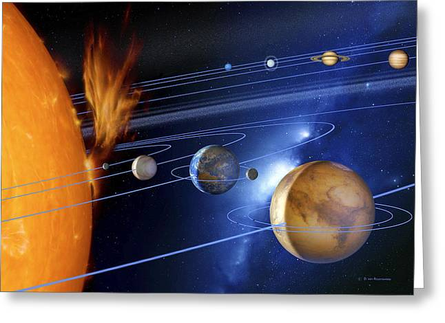 Solar Flare Greeting Cards - Solar System Greeting Card by Detlev Van Ravenswaay