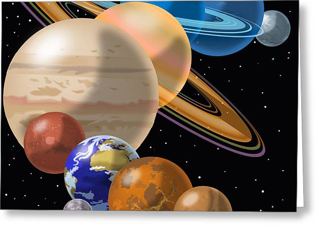 Montage Drawings Greeting Cards - Solar System Greeting Card by Mark Giles and Photo Researchers