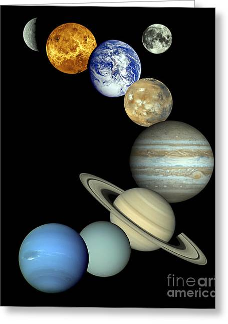 Terra Colors Greeting Cards - Solar System Montage Greeting Card by Stocktrek Images