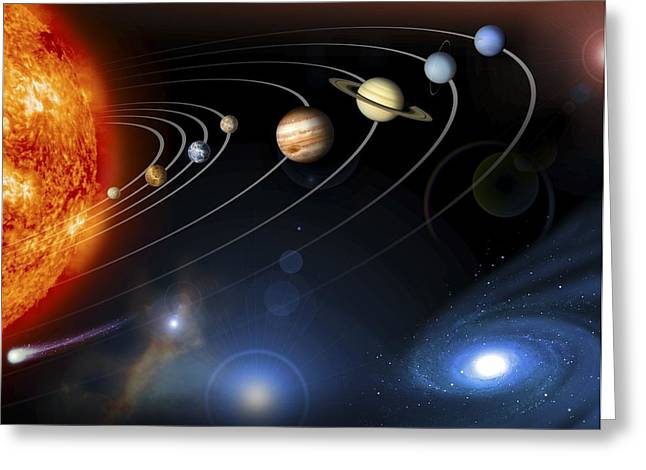 Large Moon Greeting Cards - Solar System Planets Greeting Card by Nasajpl