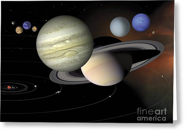 Large Scale Digital Art Greeting Cards - Solar System Greeting Card by Stocktrek Images
