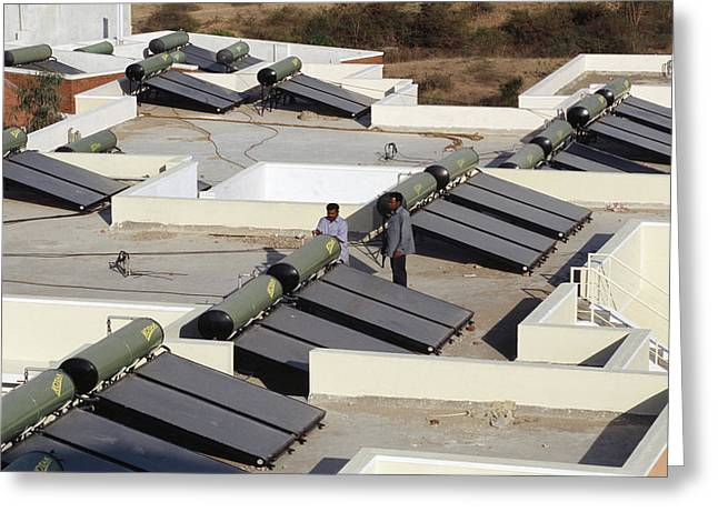 Solar Power Greeting Cards - Solar Water Heaters Greeting Card by Volker Steger