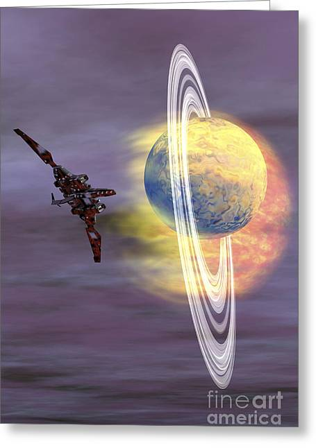 Jet Star Greeting Cards - Solar Winds Hit A Ringed Planet Greeting Card by Corey Ford