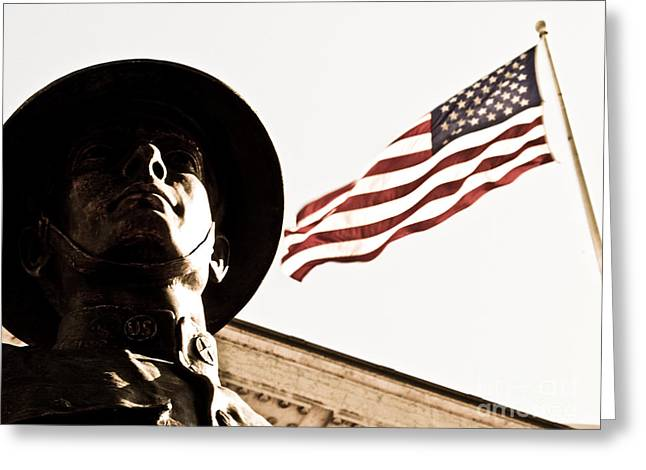 Flag Of Usa Greeting Cards - Soldier And Flag Greeting Card by Syed Aqueel