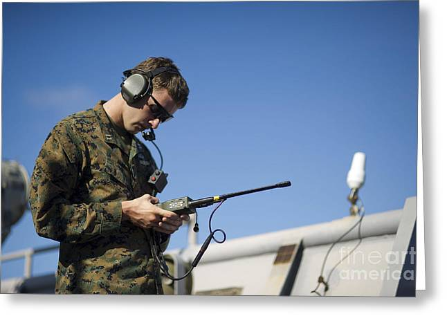 Receiver Greeting Cards - Soldier Conducts A Communications Check Greeting Card by Stocktrek Images