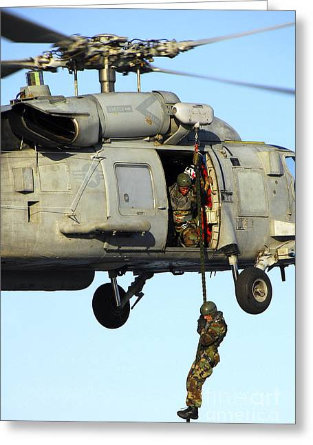Fast Rope Greeting Cards - Soldier Fast Ropes From An Sh-60 Greeting Card by Stocktrek Images
