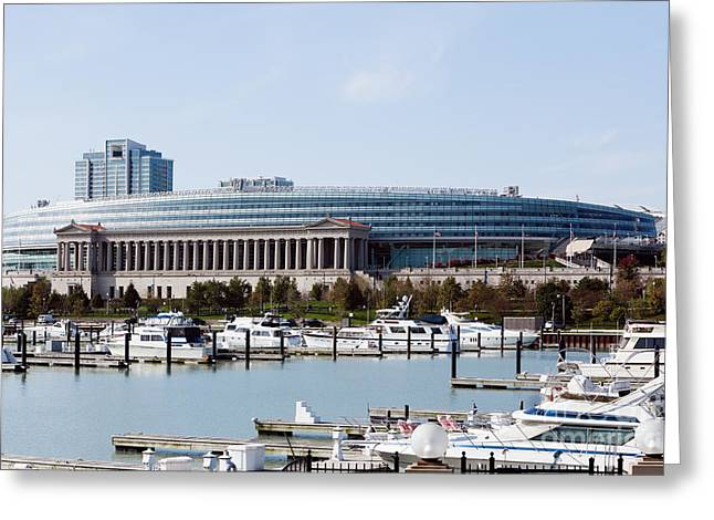 Sea Sport Greeting Cards - Soldier Field Chicago Greeting Card by Paul Velgos