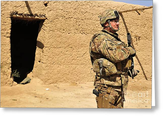 Soldier Stands Guard During A Routine Greeting Card by Stocktrek Images