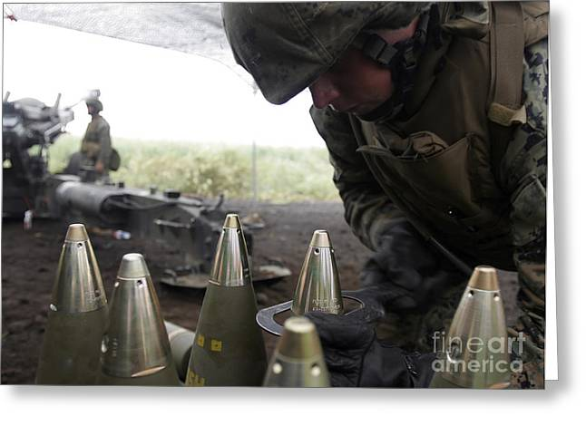 Tighten Greeting Cards - Soldier Tightens Fuses To Artillery Greeting Card by Stocktrek Images
