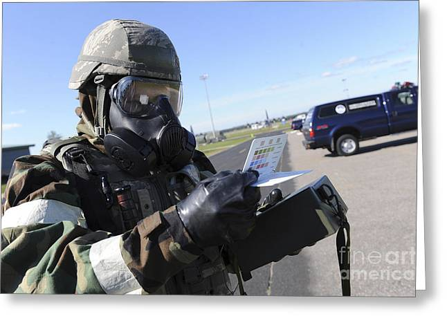 -wars And Warfare- Greeting Cards - Soldier Uses An M256 Kit To Identify Greeting Card by Stocktrek Images