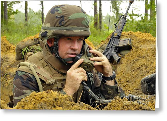 Soldier Using A Ta-1 Sound Powered Greeting Card by Stocktrek Images