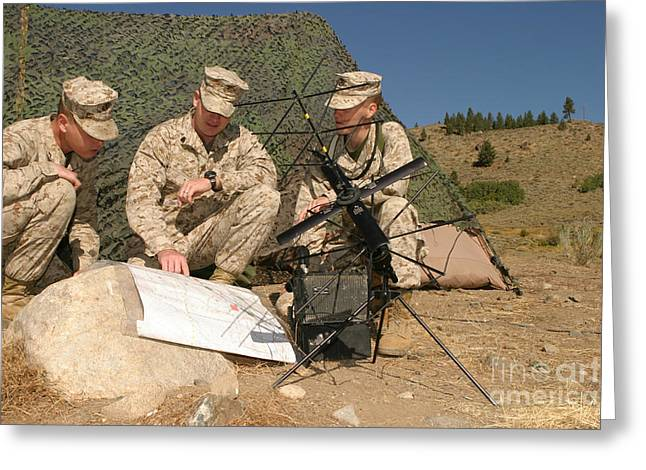 Transmitting Greeting Cards - Soldiers Analyze The Finer Points Greeting Card by Stocktrek Images
