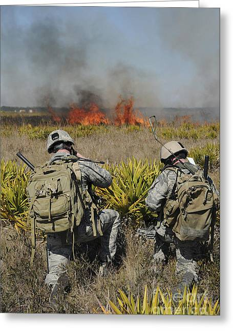 Transceiver Greeting Cards - Soldiers Call In Information Greeting Card by Stocktrek Images