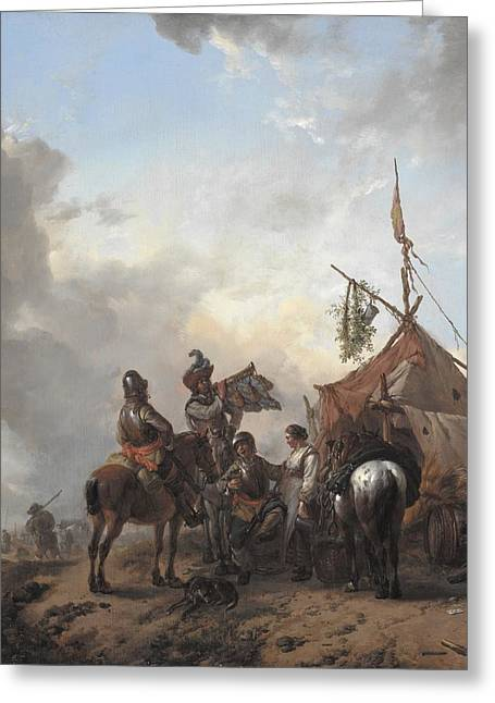 Flirtation Greeting Cards - Soldiers carousing with a serving woman outside a tent Greeting Card by Philips Wouwerman