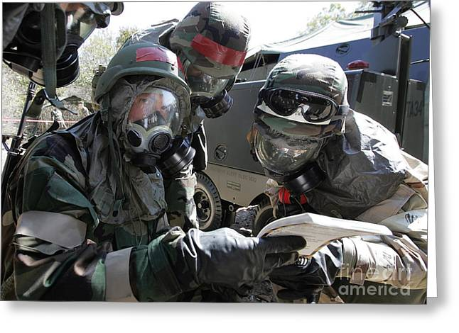 Manual Greeting Cards - Soldiers Check Their Airmans Manual Greeting Card by Stocktrek Images