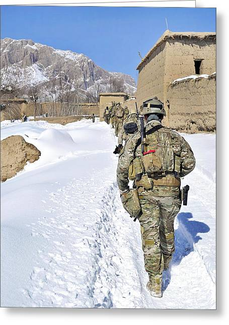 Police District Greeting Cards - Soldiers Conduct A Patrol In Shah Joy Greeting Card by Stocktrek Images
