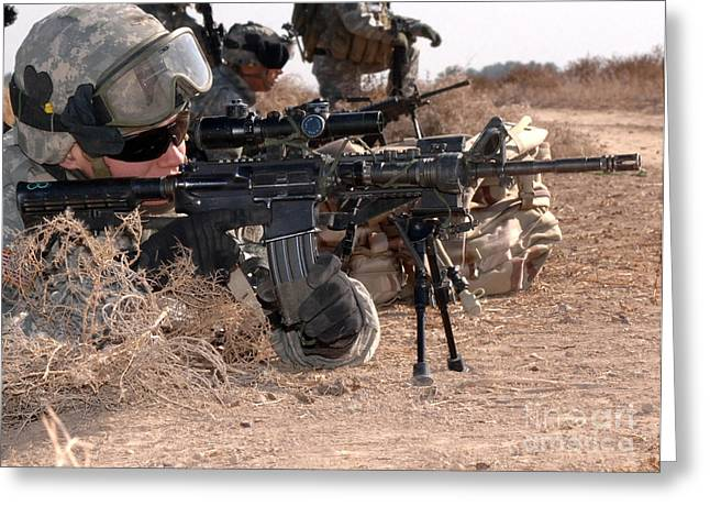 Iraq War Greeting Cards - Soldiers Conduct Search And Sweep Greeting Card by Stocktrek Images