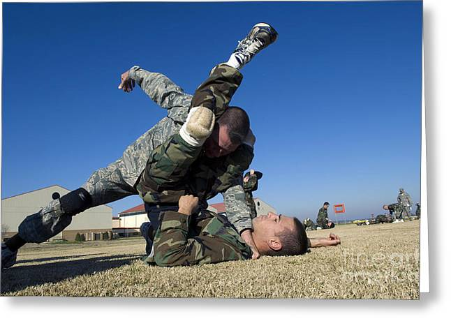 Grapple Greeting Cards - Soldiers Demonstrate Proper Grappling Greeting Card by Stocktrek Images