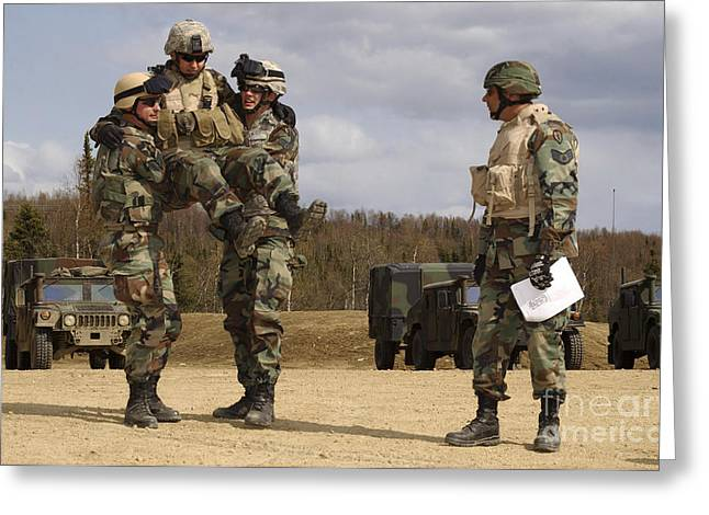 Manual Greeting Cards - Soldiers Demonstrate The Four-handed Greeting Card by Stocktrek Images