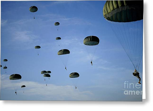 Colored Troops Greeting Cards - Soldiers Descend Under A Parachute Greeting Card by Stocktrek Images