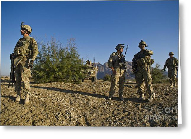 Scenario Greeting Cards - Soldiers Discuss A Strategic Plan Greeting Card by Stocktrek Images