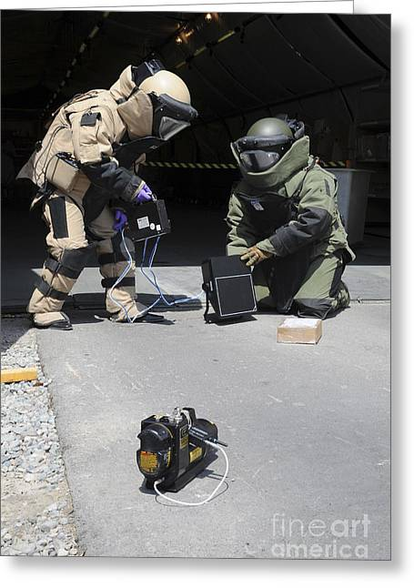 Scenario Greeting Cards - Soldiers Dressed In Bomb Suits Examine Greeting Card by Stocktrek Images