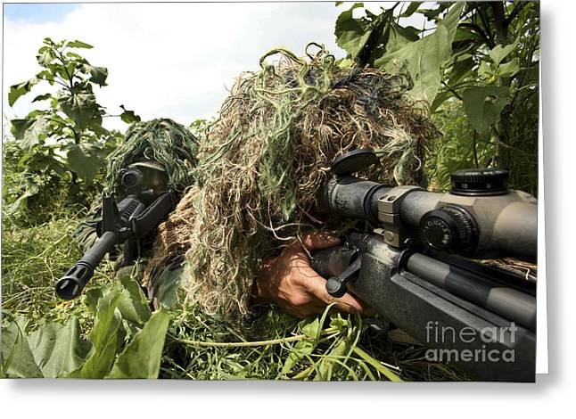 Soldiers Dressed In Ghillie Suits Greeting Card by Stocktrek Images