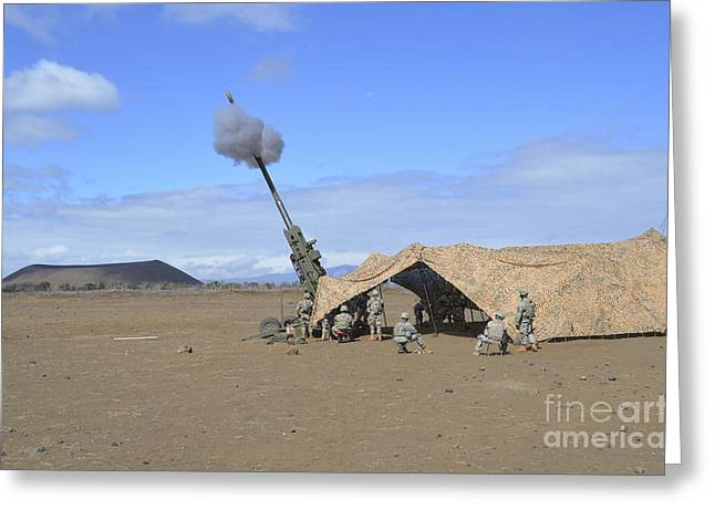 Netting Greeting Cards - Soldiers Execute A High Angle Fire Greeting Card by Stocktrek Images