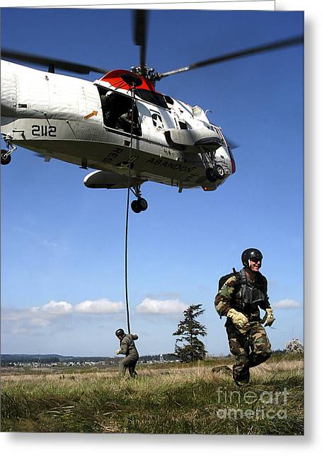 Fast-roping Greeting Cards - Soldiers Fast Rope Rappel Greeting Card by Stocktrek Images