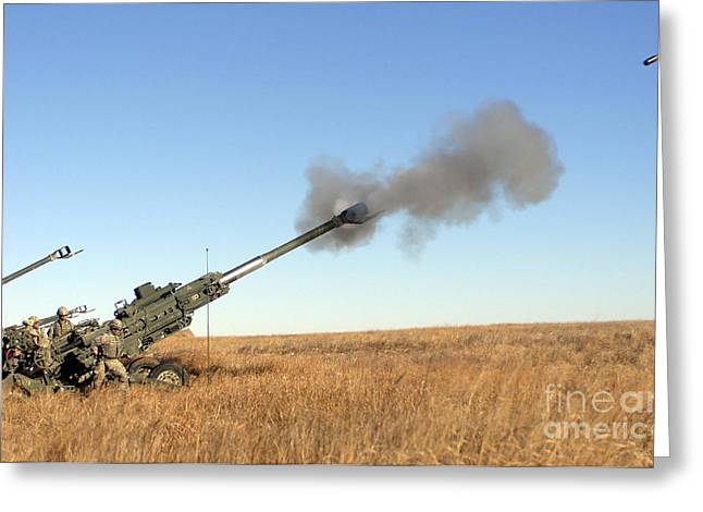 Brigade Greeting Cards - Soldiers Fire A 155mm M777 Lightweight Greeting Card by Stocktrek Images