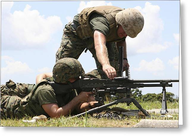 Round Shell Greeting Cards - Soldiers Fire A M240g Medium Machine Greeting Card by Stocktrek Images