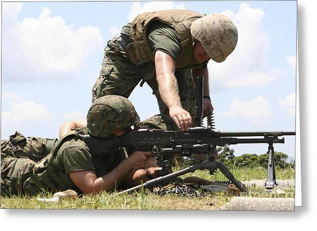 General Purpose Machine Guns Greeting Cards - Soldiers Fire A M240g Medium Machine Greeting Card by Stocktrek Images