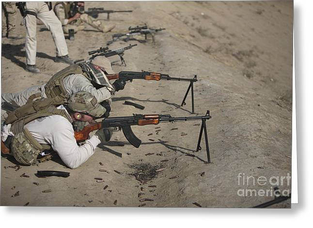 Pk Greeting Cards - Soldiers Fire A Russian Rpk Kalashnikov Greeting Card by Terry Moore